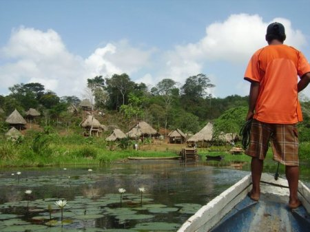 Arriving at an Embera site.